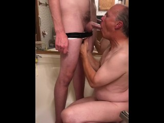 Boyfriend lets me piss in his underwear then lick him clean and eat his cum