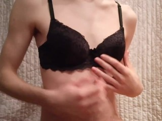 Young Polish Twink Wearing a Awesome Black BRA