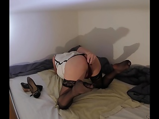 Sissy Anna #6 Dildo training in stockings