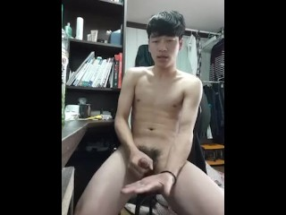 Korean boy eating own cum