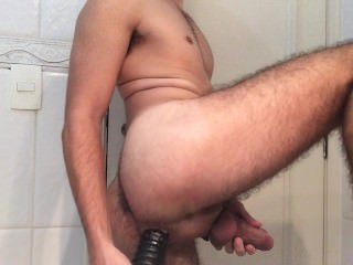 Playing with by big dildo