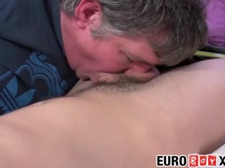 Fat euro pervert sucks off hairy young twink on the bed