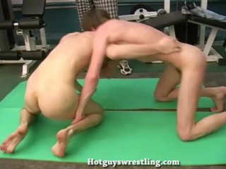 Young straight guys wrestling naked